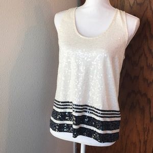 J. Crew navy and white striped sequin tank top